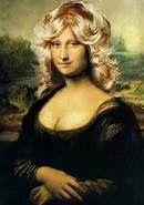 Mona Lisa wearing a blonde wig art
