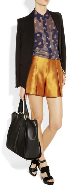 I looooove this outfit, expecially the shorts and blouse, great day outfit!  http://www.net-a-porter.com/product/335971