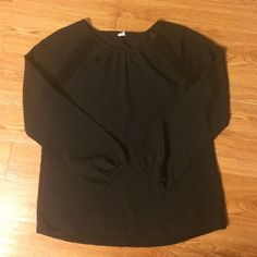 Black Dressy Top Deep black dressy too with lace detail. In perfect condition. Very lightweight, but not see through. Approx 23 1/2 inches too to bottom and 17 inches armpit to armpit. Old Navy Tops Blouses