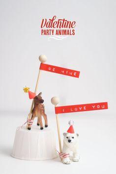 DIY: Party Animal Tutorial diy ideas, party animals, valentine day, diy valentine's day, anim diy, diy craft, parti idea, craft paper, kid