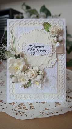 Hi Everybody, For today I have created a card in white and cream and toned the flowers to match the scheme. A real neutral look but just as lovely as the coloured ones and a really simple card to make                                                                                                                                                                                 More