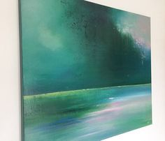 Abstract canvas painting. Green pink landscape. 91 x 76cm. 36