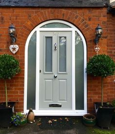 Exclusive external and internal wooden doors are made from high quality Hardwood. Sashes section x (storm proof) (flush fitting). START FROM Fully beaded and draft proof sealed. Arched Front Door, Victorian Front Doors, Front Door Porch, Grey Front Doors, Porch Doors, Front Doors With Windows, Wooden Front Doors, Front Door Entrance, Arched Doors