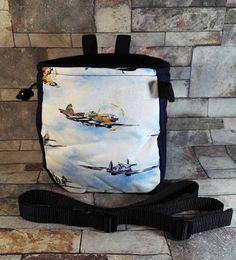 Items similar to Fighter planes chalk bag, rock climbing chalk bag, Spitfire chalk bag, boulder bucket, climbing chalk bag on Etsy Climbing Chalk Bag, Rock Climbing, Fabric Panels, Bouldering, Fabric Patterns, Planes, Great Gifts, Awesome, Handmade Gifts