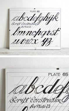 Promote penmanship appreciation with a vintage instructional print. #etsyfinds