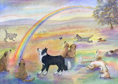 Dogs wait for their humans at Rainbow Bridge by SusanAlisonArt