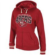 Mitchell & Ness San Francisco 49ers Ladies Scarlet Arch Rivals Full Zip Hoodie Sweatshirt