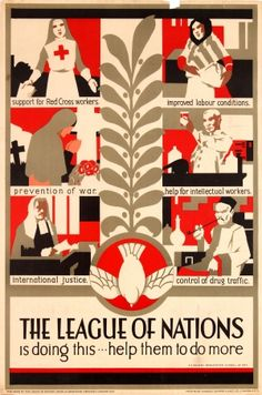 League of Nations Art Deco, 1930s - original vintage poster by F H Baines listed on AntikBar.co.uk
