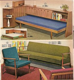 Sofabeds, 1963 Quelle catalog Modern House Design by Keith Relaxing Space Design Modern home design with Natural Beauty Around Inno. Mid Century Modern Decor, Mid Century Modern Furniture, Mid Century Design, Contemporary Furniture, Retro Furniture, Furniture Design, Victorian Furniture, Entryway Furniture, Furniture Removal