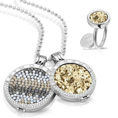 Match your ring to your pendant with Mi Moneda's changeable designs