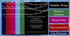 Christmas Snowflake Strings Invitations .. available in a range of colors .. invites from #Ricaso