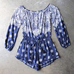 gazing at the stars off the shoulder romper with ruffle hem - shophearts - 2
