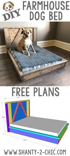 DIY Farmhouse Dog Bed doggy daycare Build this custom DIY Farmhouse Dog Bed with Free plans from www Diy Pet, Diy Dog Bed, Wood Dog Bed, Large Dog Bed Diy, Small Dog Beds, Homemade Dog Beds For Large Dogs, Small Dogs, Diy Vanity, Farmhouse Dog Beds