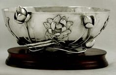 Japan. Meiji period sterling silver bowl in an iris motif, with exceptional applied 3-dimensional lotus (waterlily) and vine details - by Bisansha, Yokohama, c1900