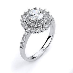 1 Carat 6mm CZ Solitaire Double Halo Flower Engagement Ring - Silver Rhodium