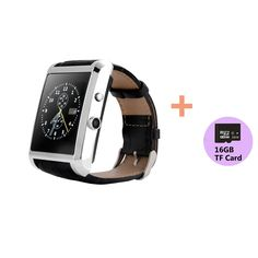 Xgody F8 Leather Strap Bluetooth Smart Watch Phone Mate+16GB TF Card For Samsung HTC iPhone LG Android&IOS Silver. GSM/GPRS 850/900/1800/1900 four frequency conversation. 400 MAH Polymer battery capacity, safe and reliable, Standby Time: Over 1 week. HD IPS display, 2.5D arc high sensitive capacitive touch screen, Anti sweating, delicate and beautiful. Natural leather strap high allergic, anti sweat matte surface treatment, the ultimate ergonomic convex design, wearing more comfortable…