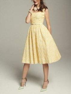 A gorgeous spring day calls for a gorgeous yellow jacquard fit and flare dress.