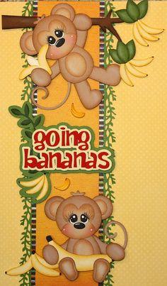 """Monkeys """"Going Bananas"""" (Scrapbook Paper Piecings) Scrapbook Patterns, Scrapbook Borders, Scrapbook Titles, Scrapbook Embellishments, Scrapbook Sketches, Baby Scrapbook, Scrapbooking Layouts, Scrapbook Cards, Paper Punch Art"""
