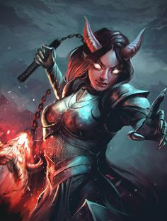 Character Portraits, Character Art, Character Ideas, Tiefling Paladin, D D Races, Sci Fi Characters, Fictional Characters, Monster Photos, Female Hero