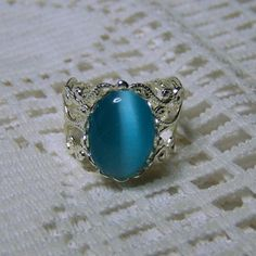 Turquoise silver filigree ring, Petite, Turquoise Blue Adjustable filigree Cameo Ring, Decmber Birthstone - Synthetic Chatoyancy ring by SouthernBelleOOAK on Etsy