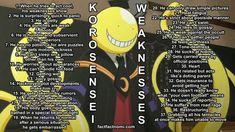 Koro-sensei& list of weaknesses. Now you nay write your fanfics accurately. Hatsune Miku, Assassination Classroom Funny, Butler, Karma X Nagisa, Yuri!!! On Ice, Classroom Memes, Nagisa Shiota, Me Anime, Anime Stuff