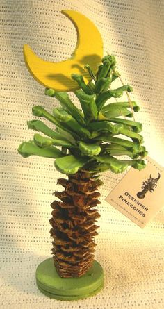 Pinecone palm tree. Decor inspiration. Please choose cruelty free art and craft supplies, go vegan!