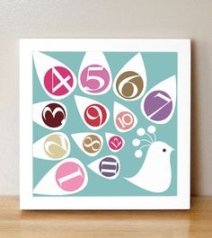 Numbers Nursery Art  'The Counting Peacock' 10x10 by sugarfresh, $25.00