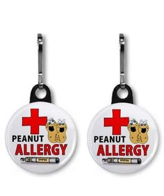 PEANUT ALLERGY EPIPEN Medical Alert Pair of 1 inch Black Zipper Pull Charms by Creative Clam, http://www.amazon.com/dp/B004KHAY96/ref=cm_sw_r_pi_dp_fr6mqb144SSG2