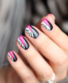 zebra styles nail art for 2016 - Real Hair Cut / Shweshwe Dresses 2017 Beautiful Nail Designs, Cute Nail Designs, Easy Designs, Hot Nails, Hair And Nails, Pink Black Nails, Zebra Nail Art, Manicure And Pedicure, Pedicures