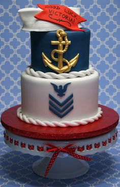 """Navy - This is for a girl that enlisted in the Navy. 8"""" & 6"""" rounds covered in fondant with all fondant accents. Blueberry muffin cake with cream cheese filling. :-)"""