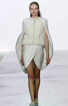 Giambattista Valli, one of the few designers who is also a couturier, showed a collection that when minimal on colour and intense on sumptuous texture. He showed fur close to the body and then layered with lighter, silkier fabrics as if creating the most elegant cocoon. (Christophe Ena/AP)