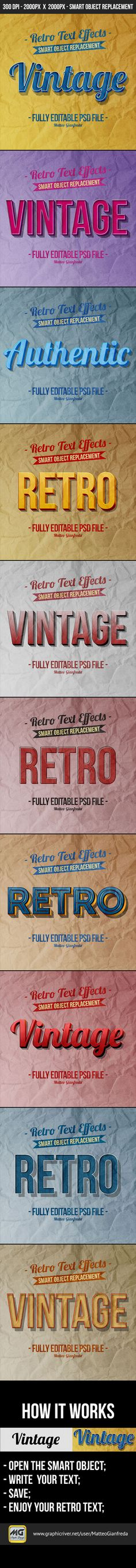 Retro Vintage Text Effects for Photoshop. Download here: http://graphicriver.net/item/retro-vintage-text-effects/10330477?ref=ksioks