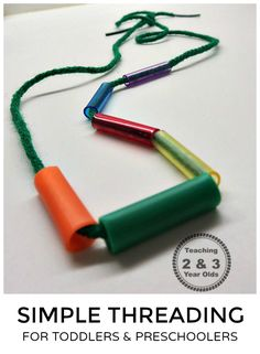 Simple Threading Activity Using Cut Straw Pieces - Perfect fine motor for toddlers transitioning into preschool.