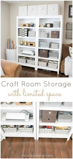 Make sure you have room for all your supplies, paints, and craft essentials by checking out this craft room storage with limited space! The use of bookshelves, baskets, and organizers is sure to inspire you to sort out your creative space. Craft Room Storage, Room Organization, Craft Rooms, Storage Ideas, Shelf Ideas, Space Crafts, Craft Space, Sewing Rooms, Storage Cabinets