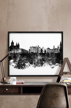 Amsterdam print Amsterdam skyline black & white by iPrintPoster