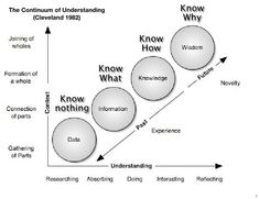 Continum of Understanding and Learning tells us why that simply just reading about something doesn't necessarily make you an authority. Application of knowledge and then reflection or feedback of action, is a necessary path to wisdom. Knowledge Management, Change Management, Business Intelligence, Life Skills, Life Lessons, Systems Thinking, Self Branding, Learning Techniques, Coaching
