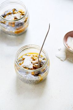 Delicious and Easy Creamy Passion Fruit Chia Pudding Recipe 1/3 cup chia seeds 1 cup almond milk, unsweetened 1 teaspoon vanilla 2 tablespoons maple syrup or honey Pinch of sea salt 1/4 cup shredded coconut, toasted 2 passion fruits