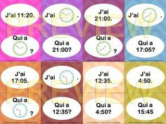 Quelle heure est-il? - J'ai... Qui a? Game - Telling time in French