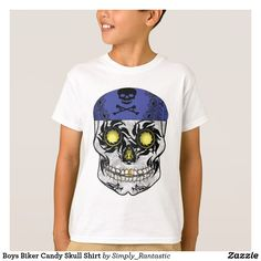 Boys Biker Candy Skull Shirt