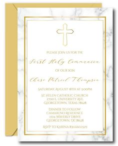 Marble First Communion Invitations First Communion Invitations, Candy Bar Wrappers, First Holy Communion, White Envelopes, Printing Services, Thank You Cards, Rsvp, Invite, Boy Or Girl