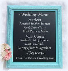 SPRING WEDDING DECOR Tiffany Blue Wedding Robin's Egg Framed Magnetic Chalkboard Shabby Chic Kitchen Shabby Chic Home Wedding Blackboards. $126.00, via Etsy.