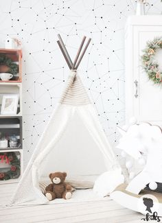 Constellations Pattern Removable Wallpaper A005 by LivettesKIDS. Kids bunk
