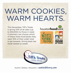 Tiffs Treats is donating 10% of proceeds to Texas food banks in November. Holiday