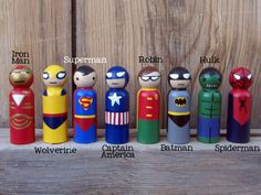 """Superhero Peg People Your choice of FOUR Heroes by PegBuddies...These super cute peg dolls measure 3 1/2"""" tall and are entirely hand painted"""