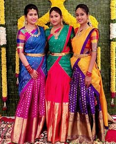 Tag your bride squad and let them know they are special. For some more wedding gorgeousness, hop over to our…half saree indian jewellery wedding bridal photography dresses Half Saree Lehenga, Lehenga Saree Design, Lehnga Dress, Lehenga Designs, Saree Blouse Designs, Dress Designs, Dress Skirt, Kids Lehenga, Indian Lehenga