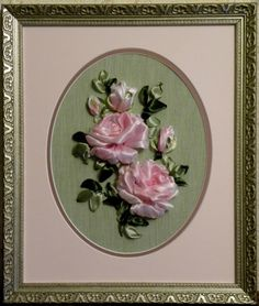 Pink roses ribbon embroidery