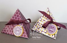 There's no cutting required for these triangular treat boxes and they take minutes to make! - Vicky Hayes