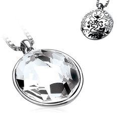 Go big, grote 1e gehalte zilveren hanger bezet met een schitterend Swarovski kristal, Zinzi. De zilveren hanger is 3,2 x 2,8 cm (gemeten zonder de hangogen, de achterzijde van de hanger met een patroon met een Z.ZIH664