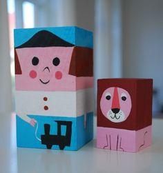 bloques de madera pintados de la colección 100 wood block figures de  Ingela P. Arrhenius