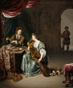 The Neglected Lute (c.1708). Willem van Mieris (Dutch, 1662-1747). Oil on panel. Royal Collection Trust.The scene is one of seduction, combining the pleasures of taste, love and music in a suitably grand interior. The man is encouraging the woman to drink whilst her lapdog barks at the black servant. The oysters - recognised for their aphrodisiacal qualities - are moist and delicately coloured. Great care has been lavished on the texture of the various surfaces.http://books0977.tumblr.com/